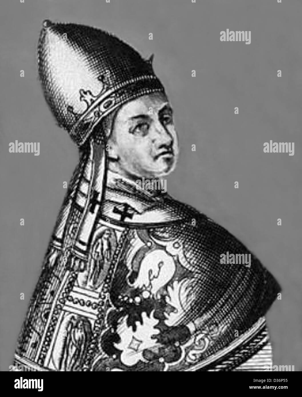 Black and white engraved portrait of Pope Benedict IX - Stock Image