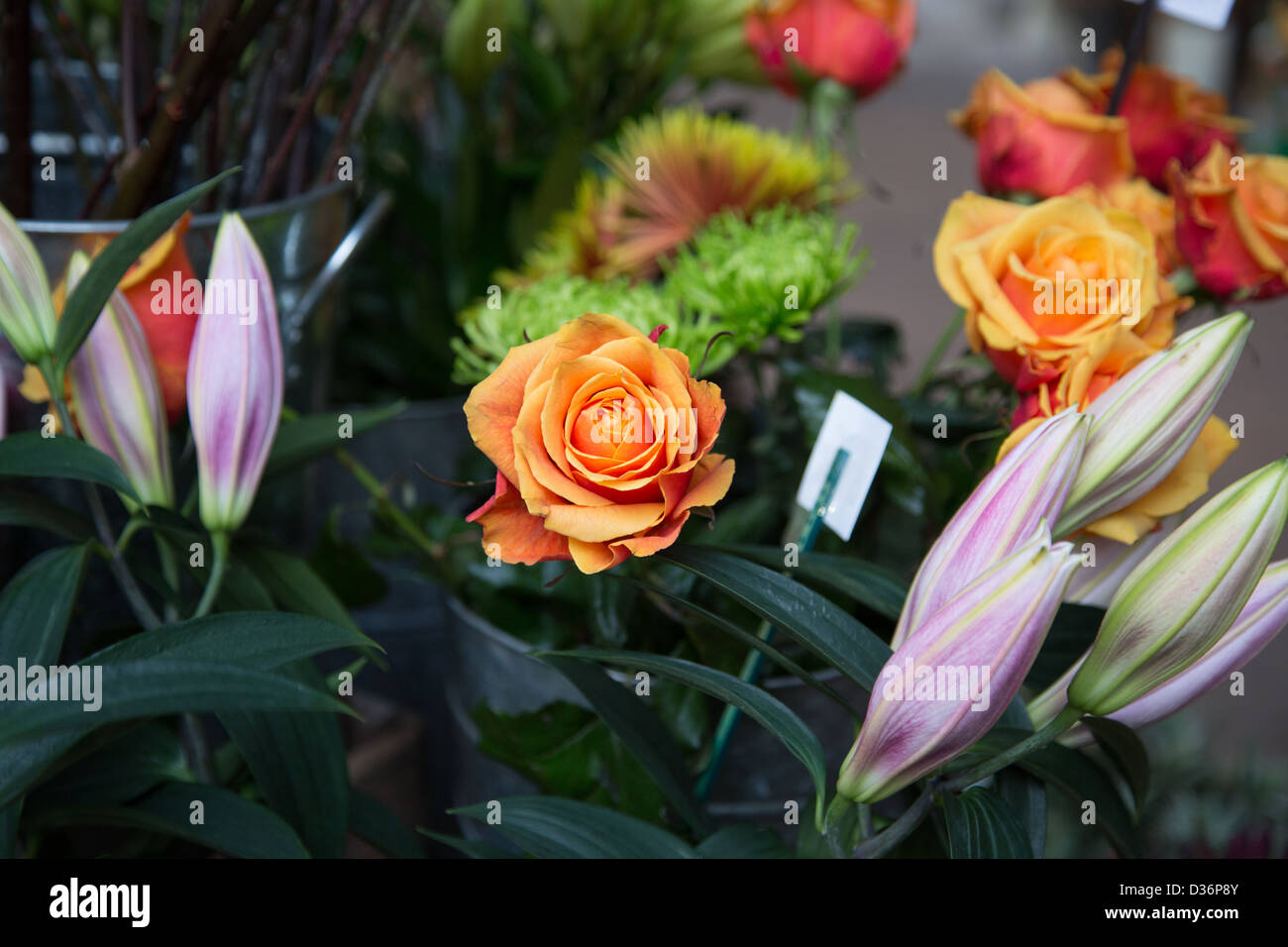 Flowers, Borough Market, London - Stock Image