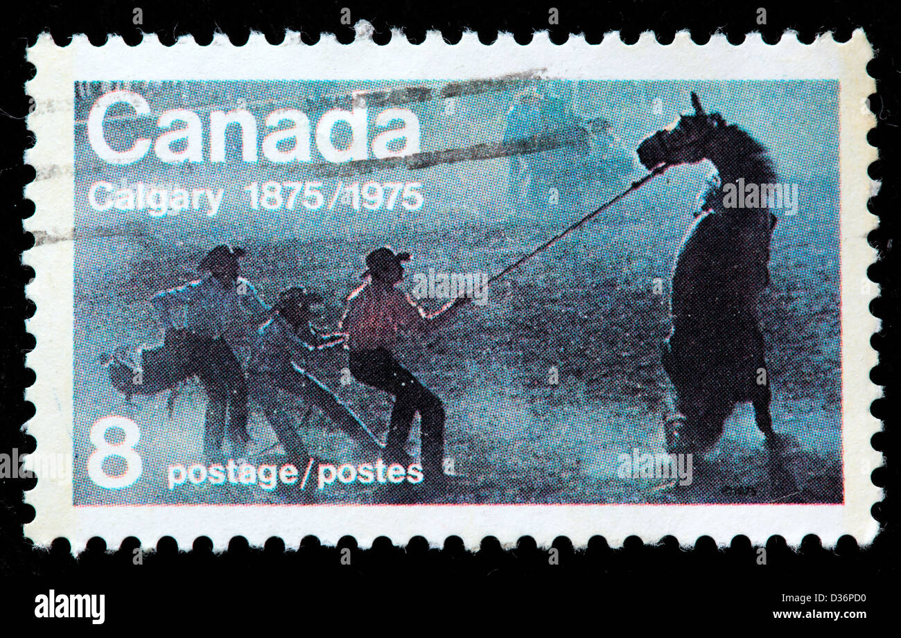 Calgary, postage stamp, Canada, 1976 - Stock Image