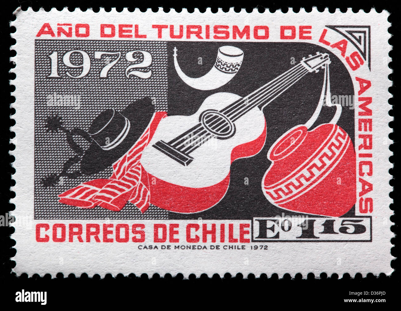 Guitar And Earthen Jar Postage Stamp Chile 1972