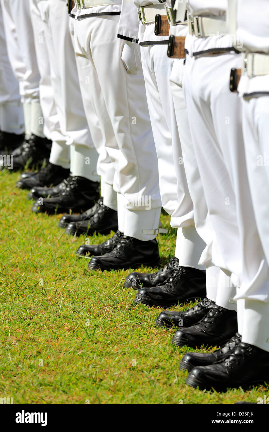 new zealand royal navy parade with nicely shined boots at the stock
