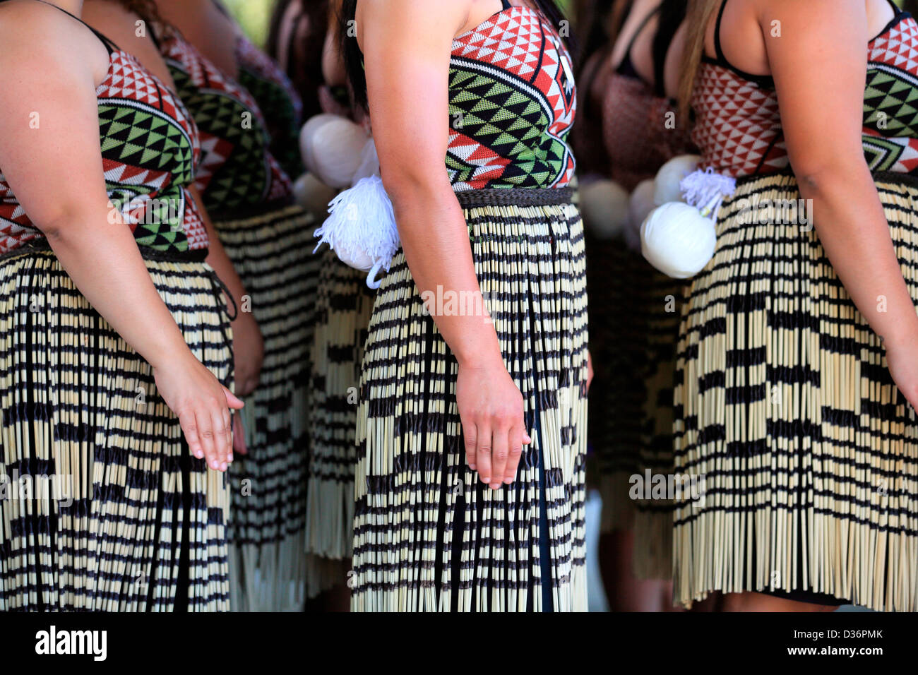 Female Kapa Haka group at the Waitangi Treaty Grounds during Waitangi Day celebrations. - Stock Image