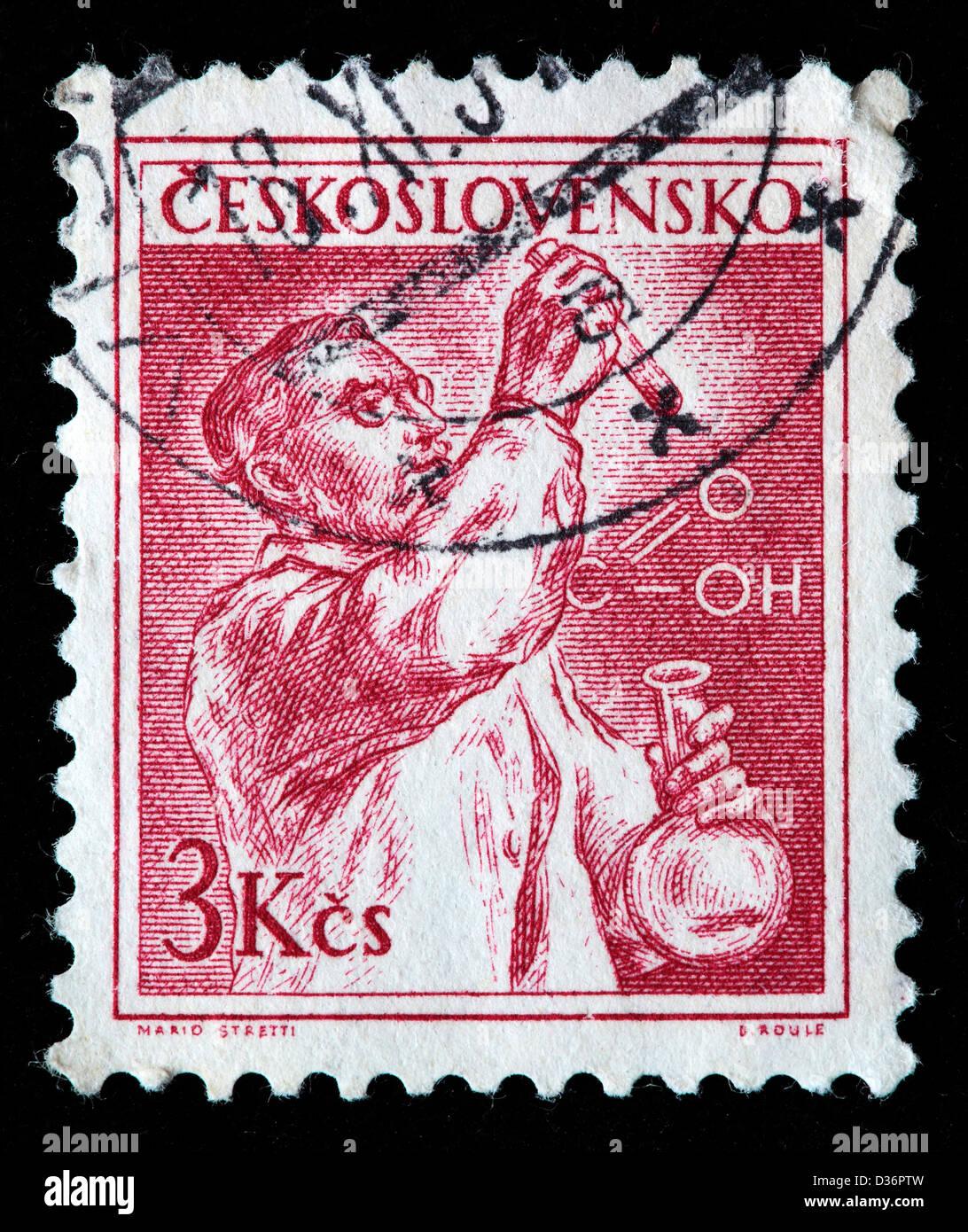 Chemist, postage stamp, Czechoslovakia, 1954 - Stock Image