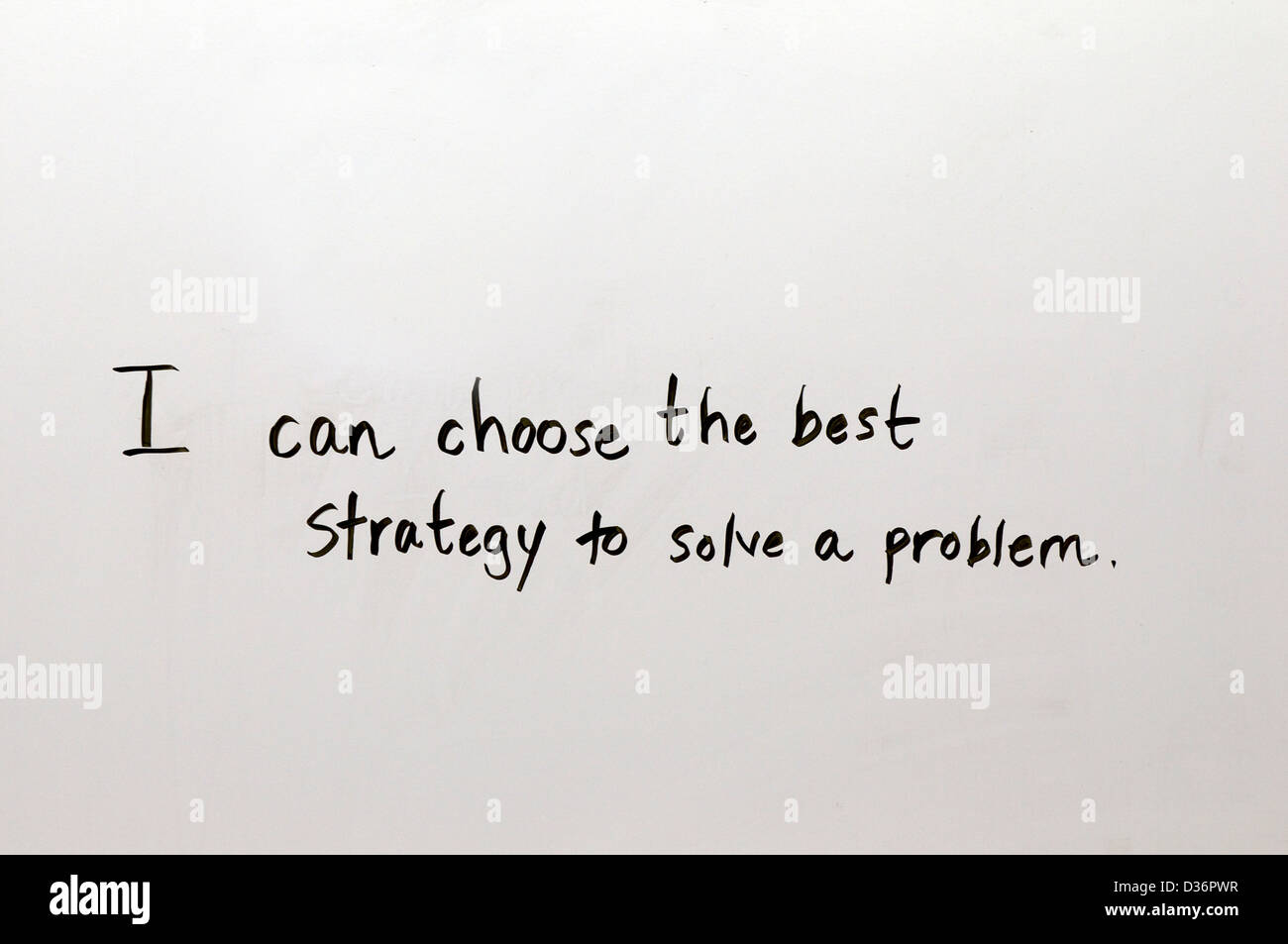 School lesson: I can choose the best strategy to solve a problem. - Stock Image