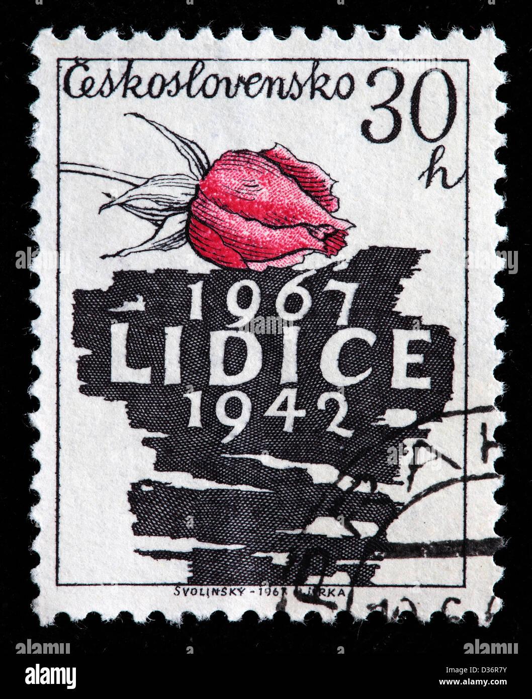 Lidice, postage stamp, Czechoslovakia, 1967 Stock Photo
