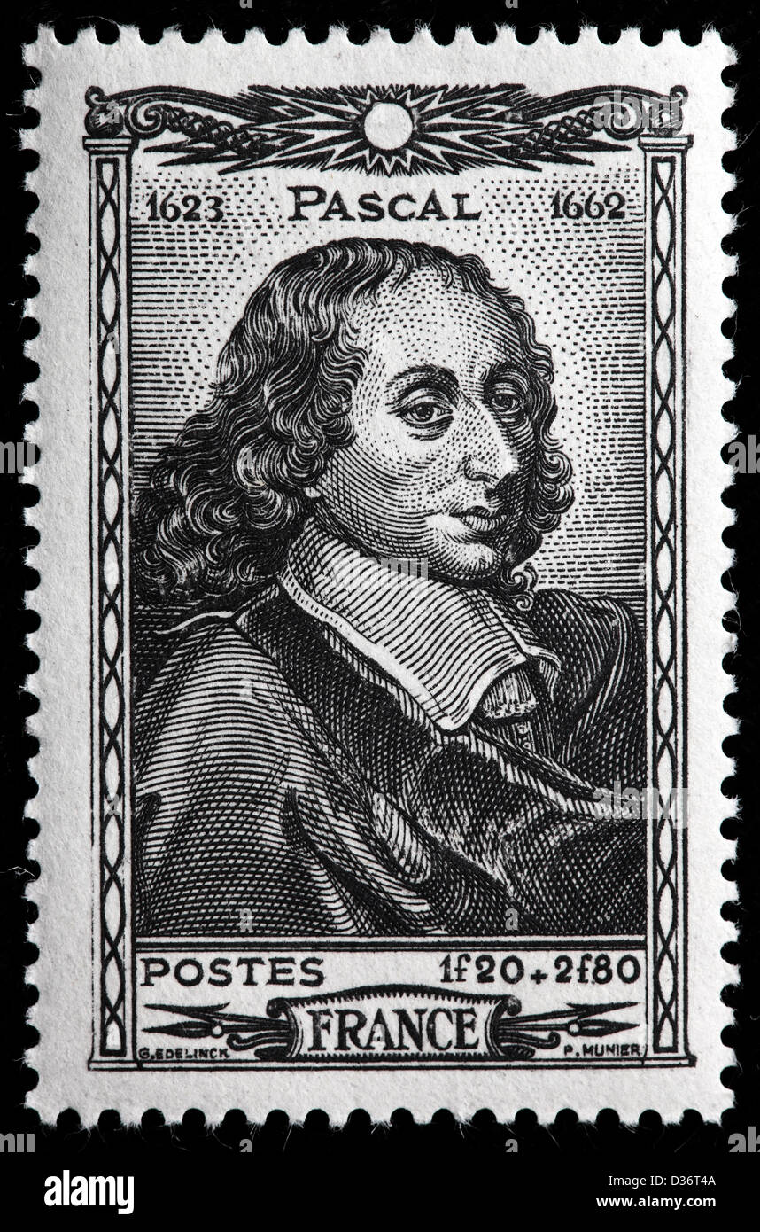 Blaise Pascal, philosopher, postage stamp, France, 1944 - Stock Image