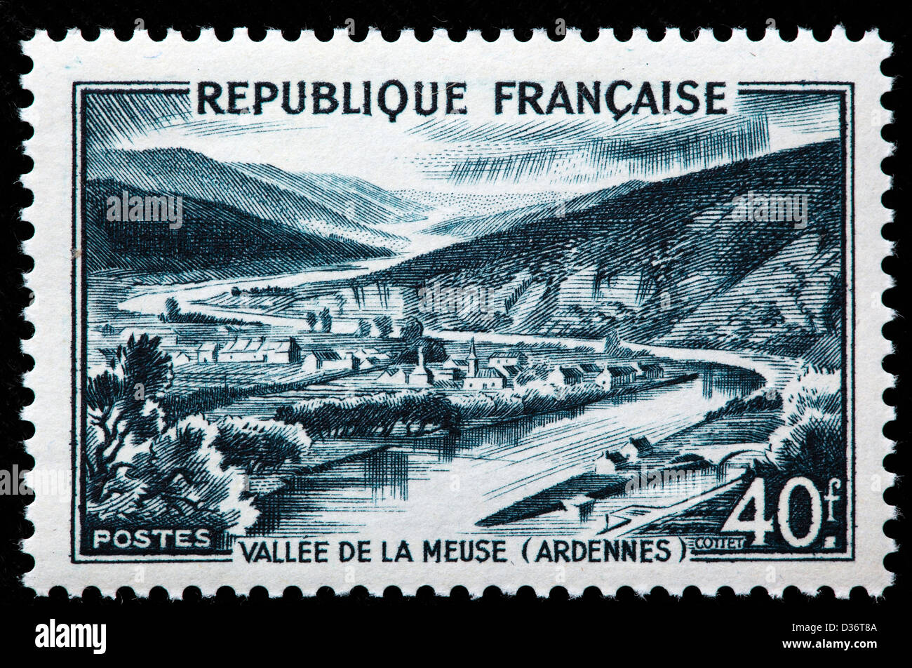 Meuse Valley, Ardennes, postage stamp, France, 1949 - Stock Image