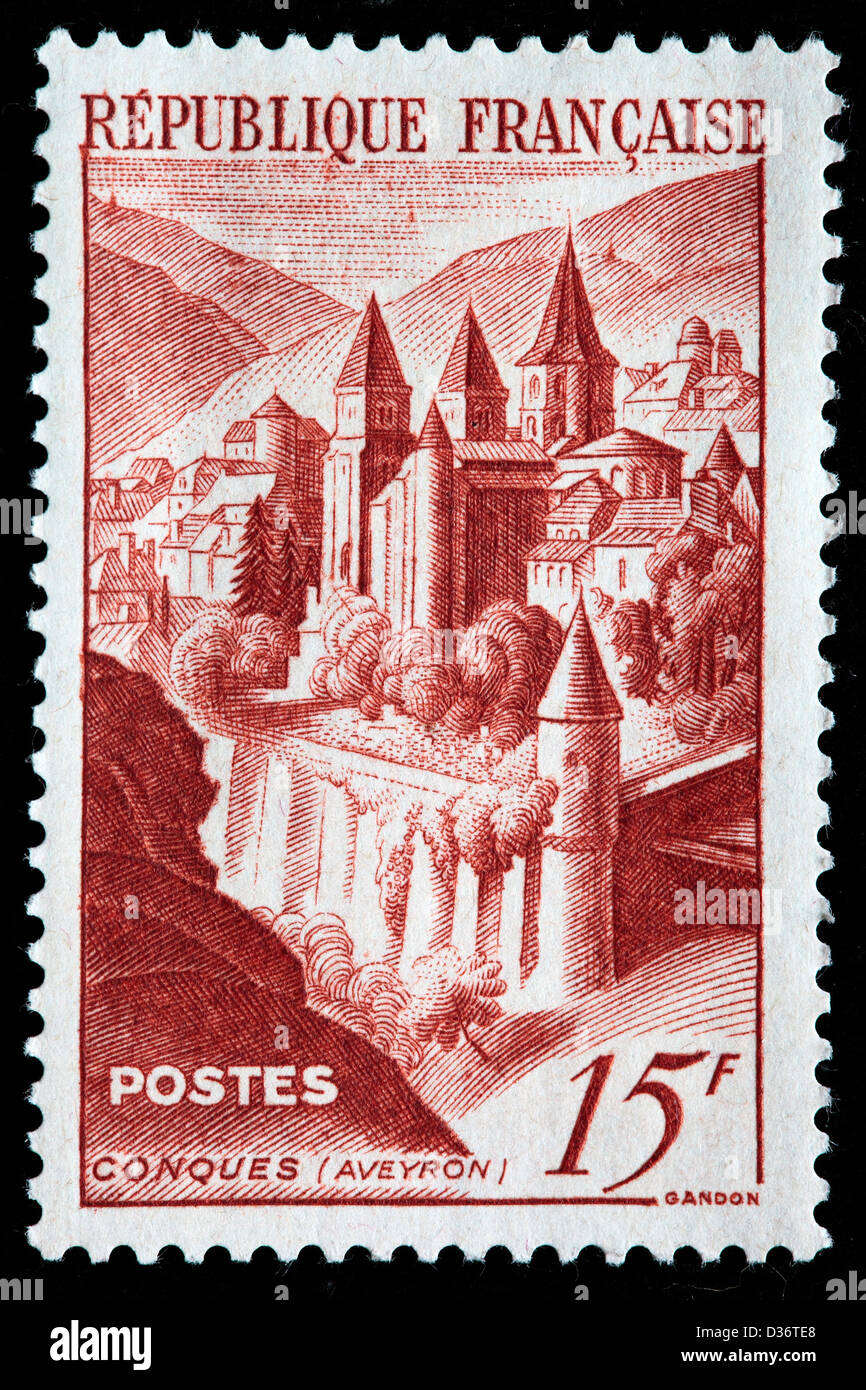 View of Conques, postage stamp, France, 1947 - Stock Image
