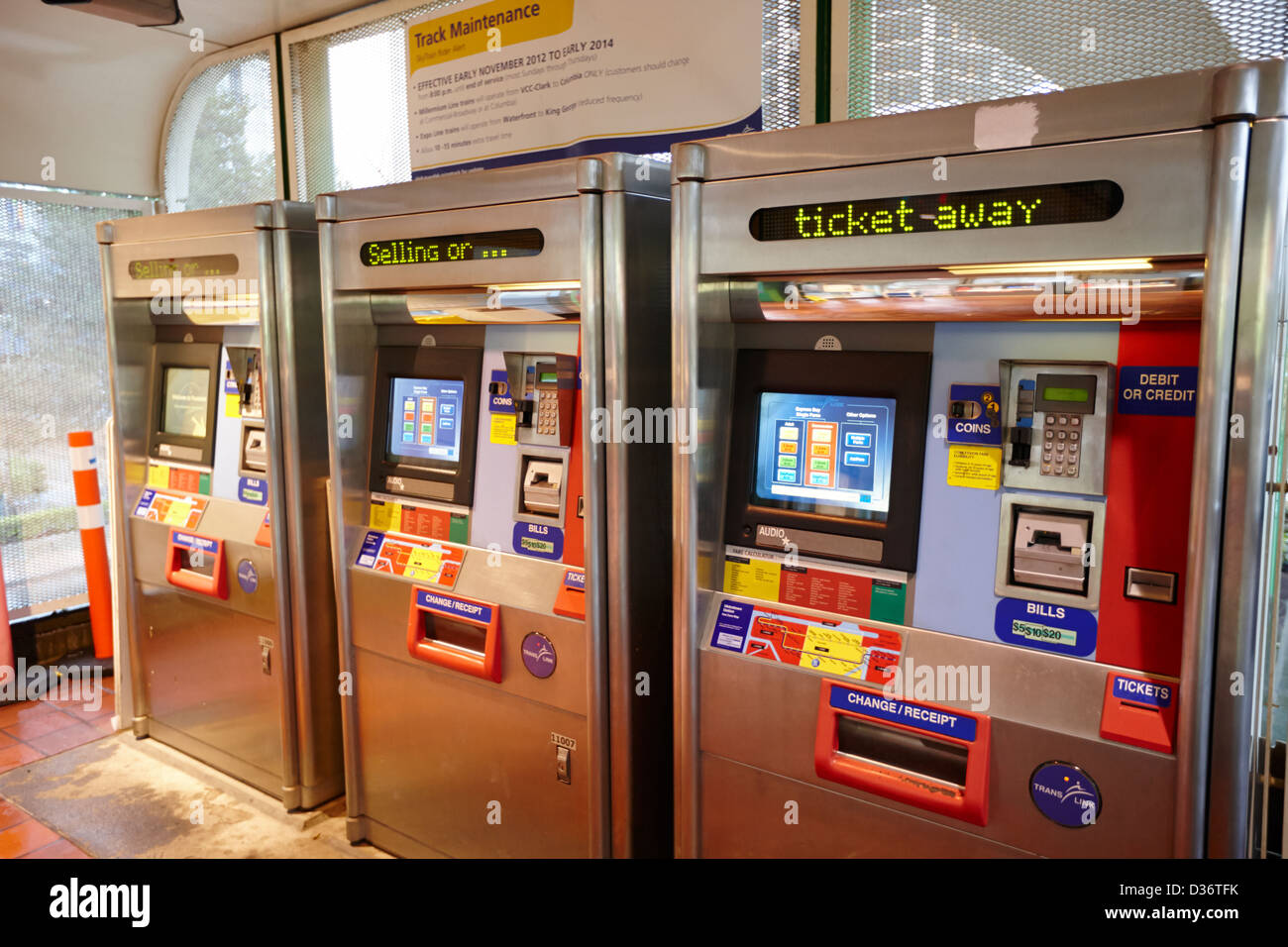 automatic skytrain ticket machines at station Vancouver BC Canada Stock Photo