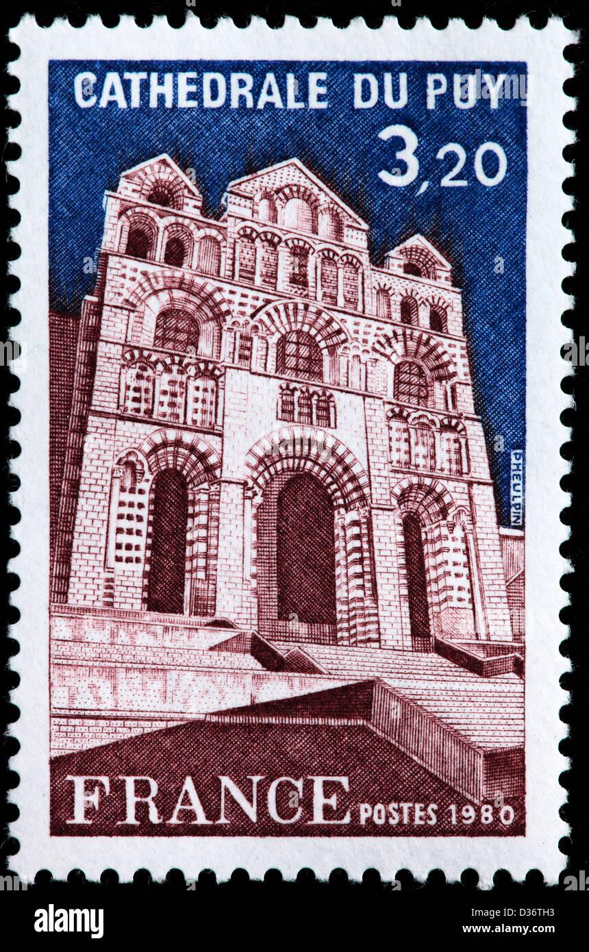 Le Puy Cathedral, Le Puy-en-Velay, Auvergne, postage stamp, France, 1980 - Stock Image