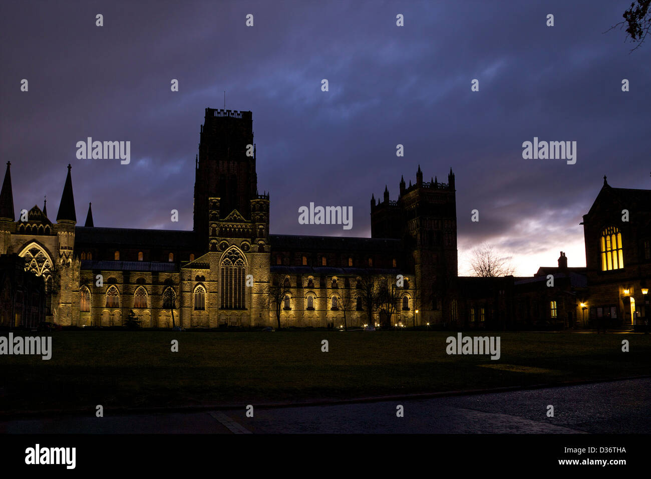 Durham Cathedral from Palace Green, County Durham, North East England, UK, GB - Stock Image