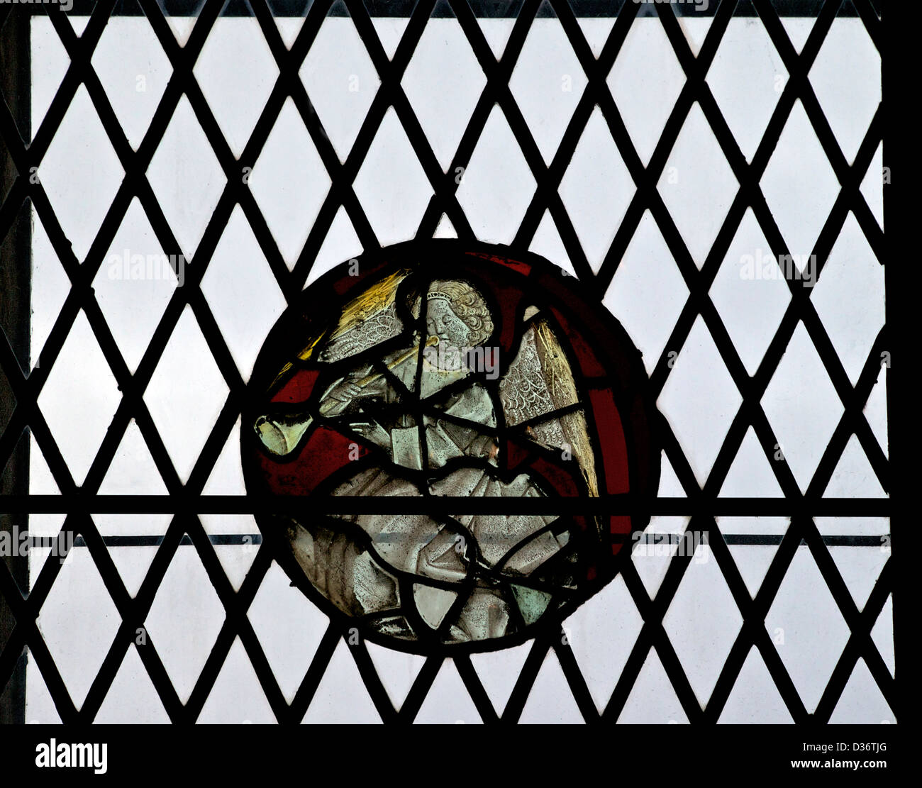Angel in stained glass, Galilee Chapel, Durham Cathedral, County Durham, Northeast England, UK, GB - Stock Image
