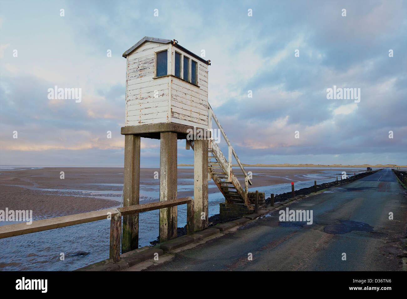 Safety shelter on causeway, Lindisfarne, Northumberland, Northeast England, UK, GB - Stock Image