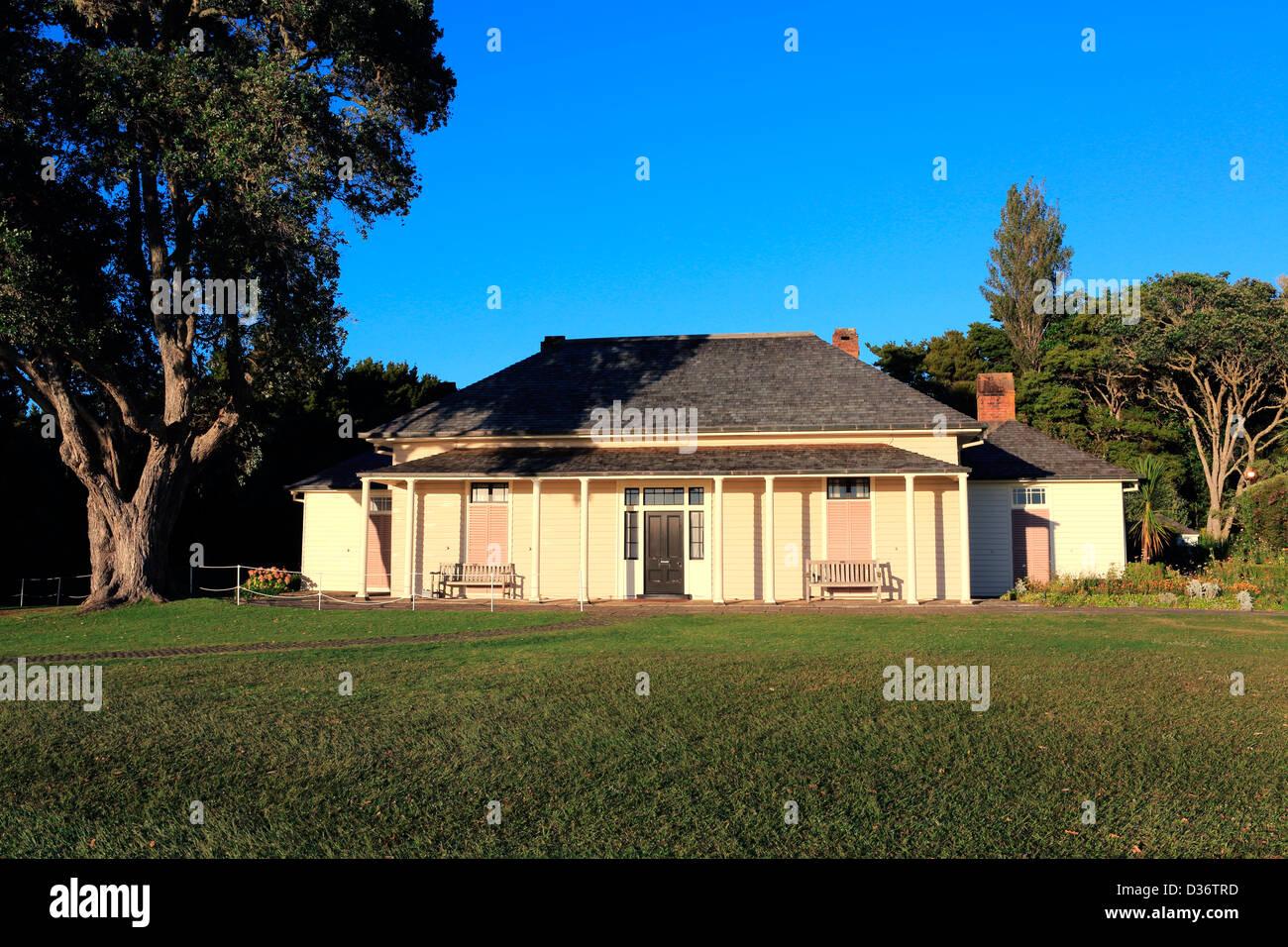 The historic treaty house at the Waitangi Treaty Grounds. - Stock Image