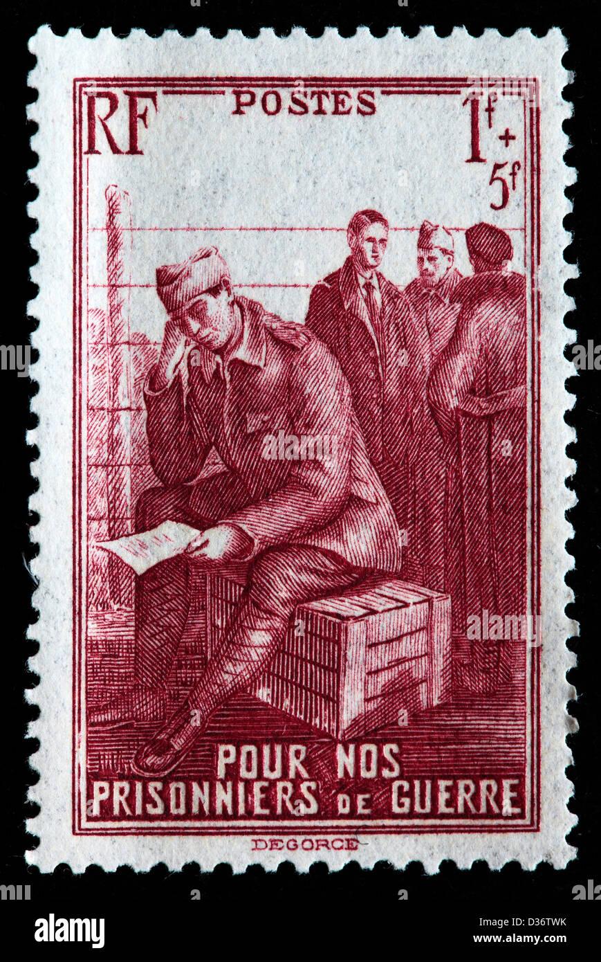 Prisoners of War, postage stamp, France, 1941 - Stock Image