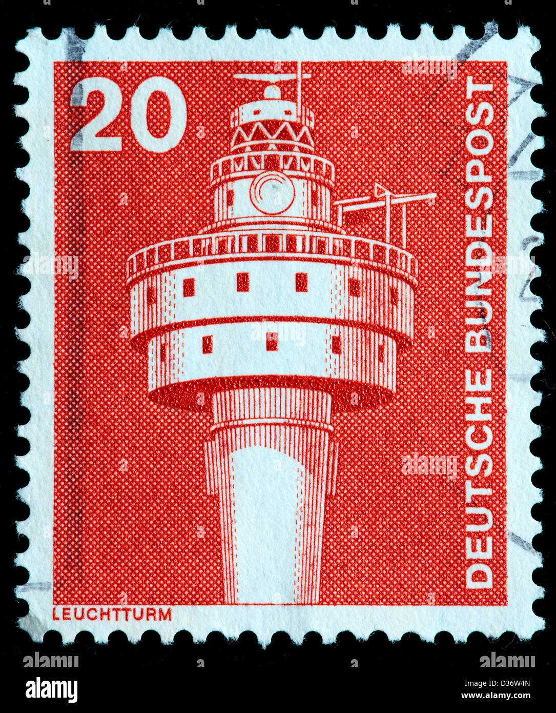 Old Weser lighthouse, postage stamp, Germany, 1975 - Stock Image
