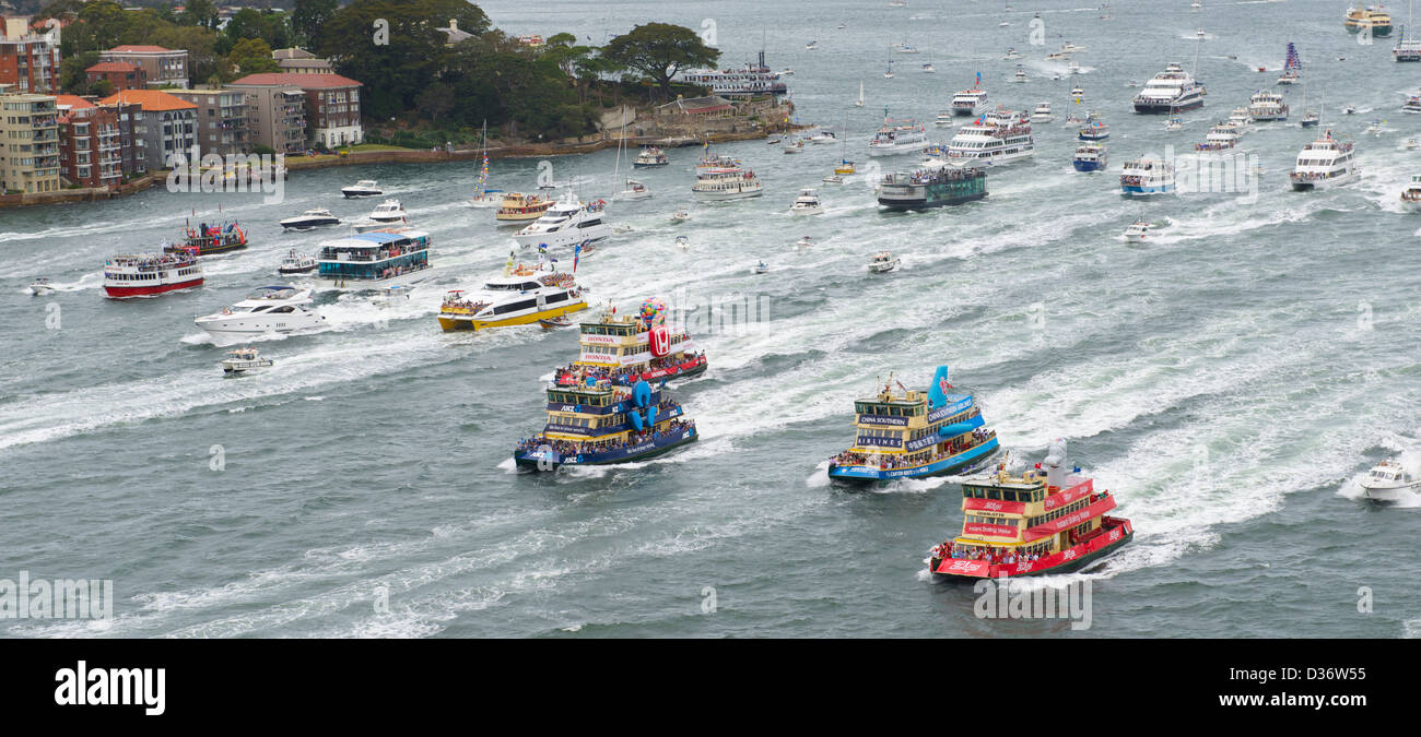 The annual Sydney Harbour ferry race on Australia Day 2013 - Stock Image