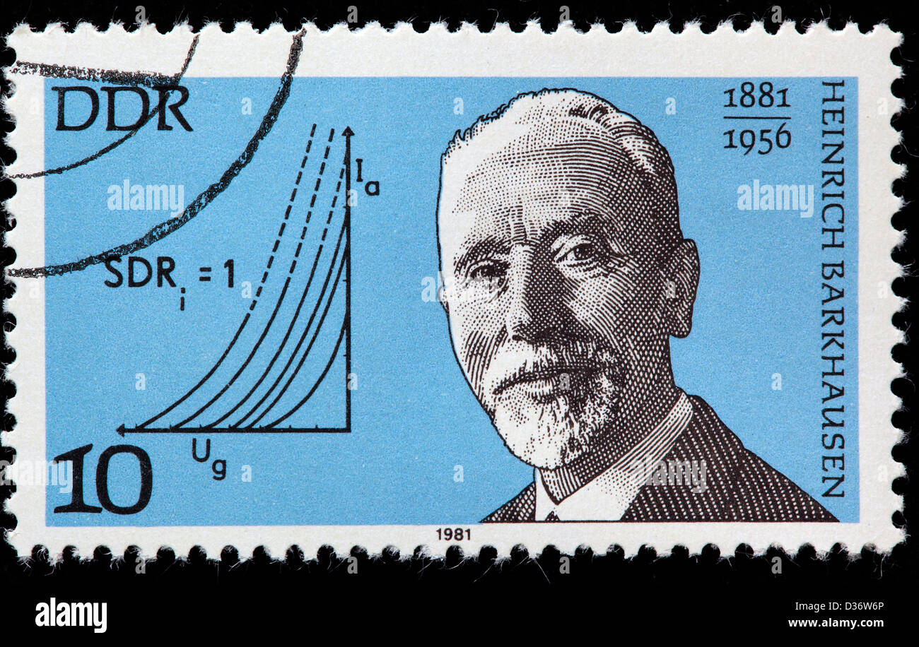 Heinrich Barkhausen, Physicist, postage stamp, Germany, 1981 - Stock Image