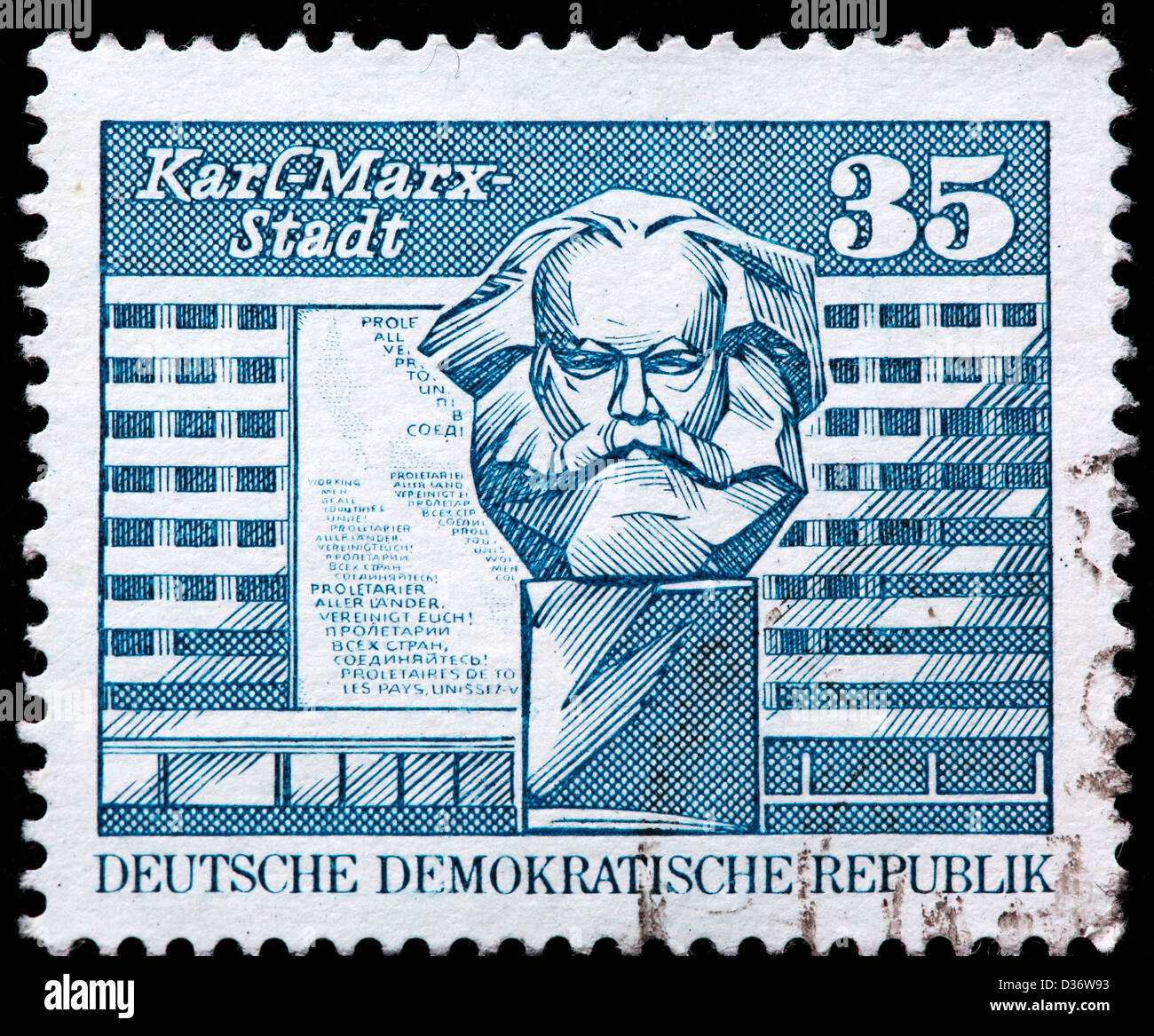 Marx monument, Karl-Marx-Stadt, postage stamp, Germany, 1973 - Stock Image