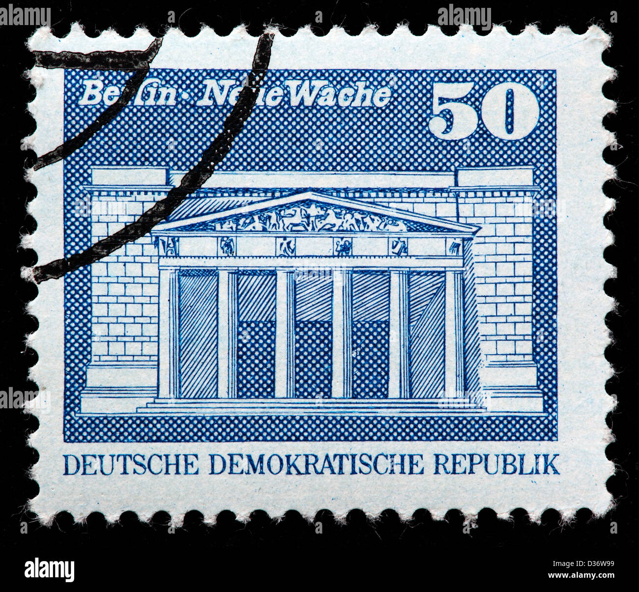 New Guardhouse, Berlin, postage stamp, Germany, 1973 - Stock Image