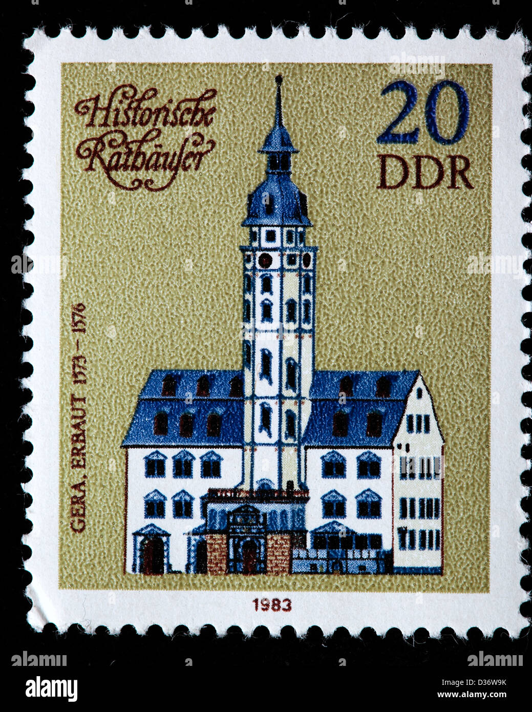 Town Hall (1576), Gera, Thuringia, postage stamp, Germany, 1983 Stock Photo