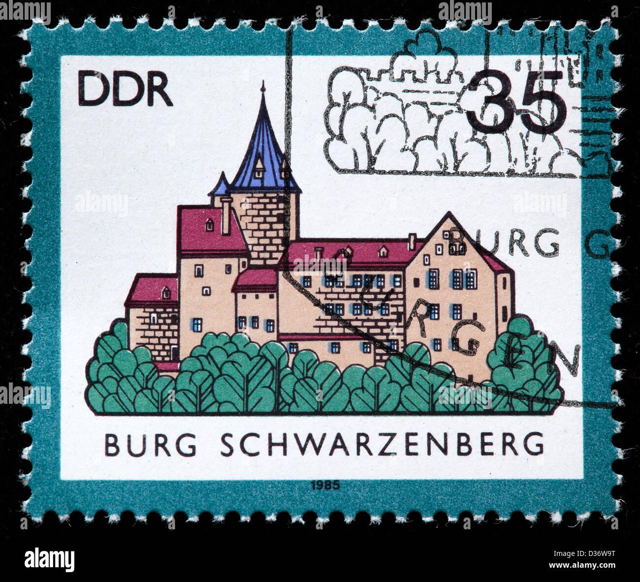 Schwarzenberg, Saxony, postage stamp, Germany, 1985 Stock Photo