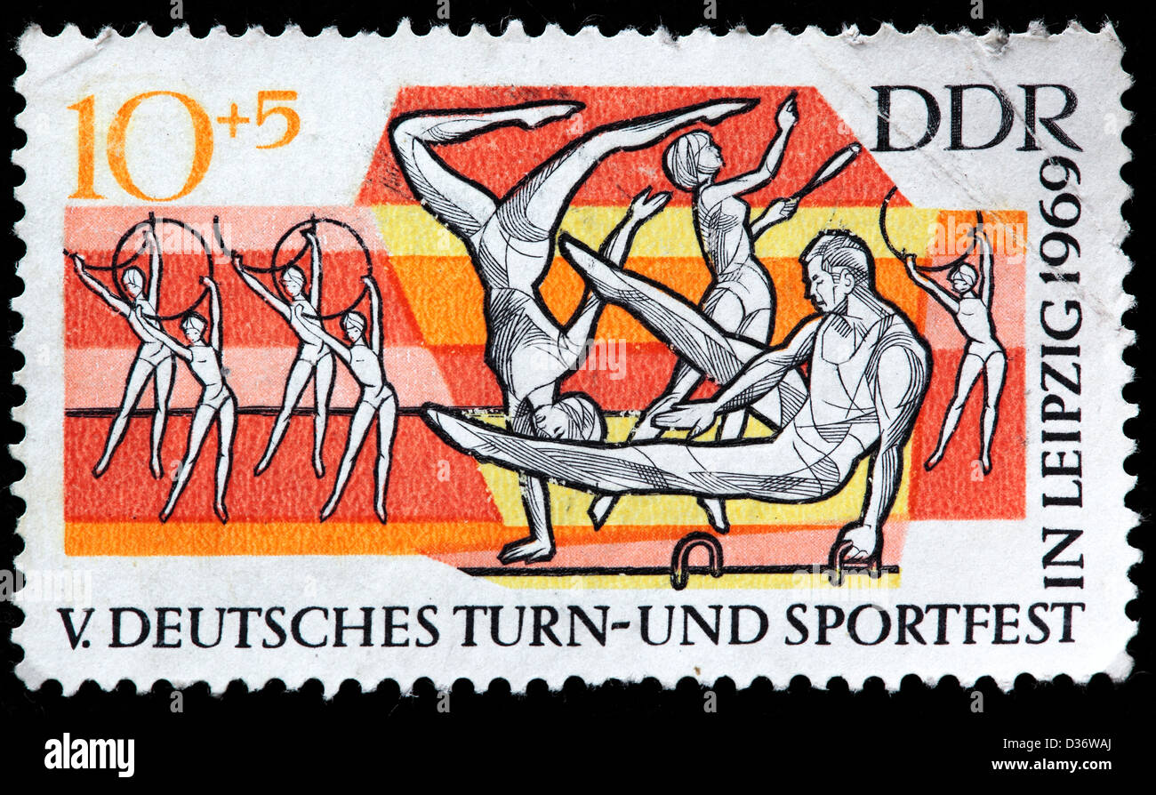 5th German Gymnastic and Sports Festival, Leipzig, postage stamp, Germany, 1969 - Stock Image
