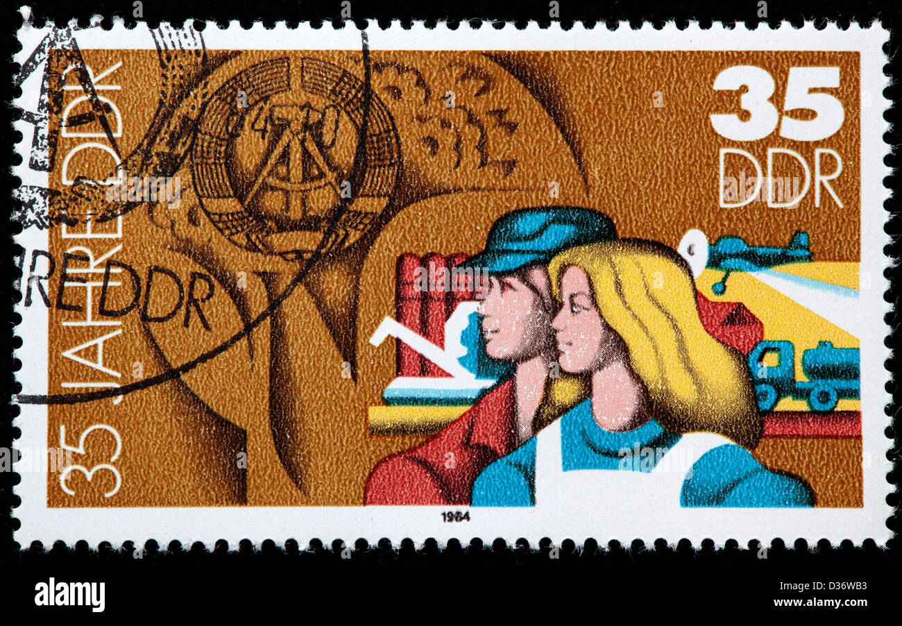 Agriculture, 35th Anniversary of DDR, postage stamp, Germany, 1984 Stock Photo
