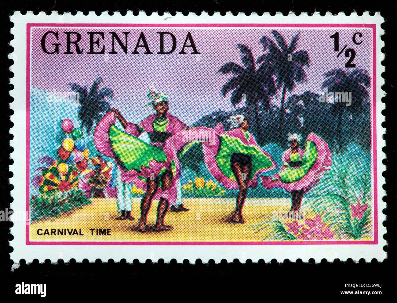 Carnival, postage stamp, Grenada, 1976 Stock Photo