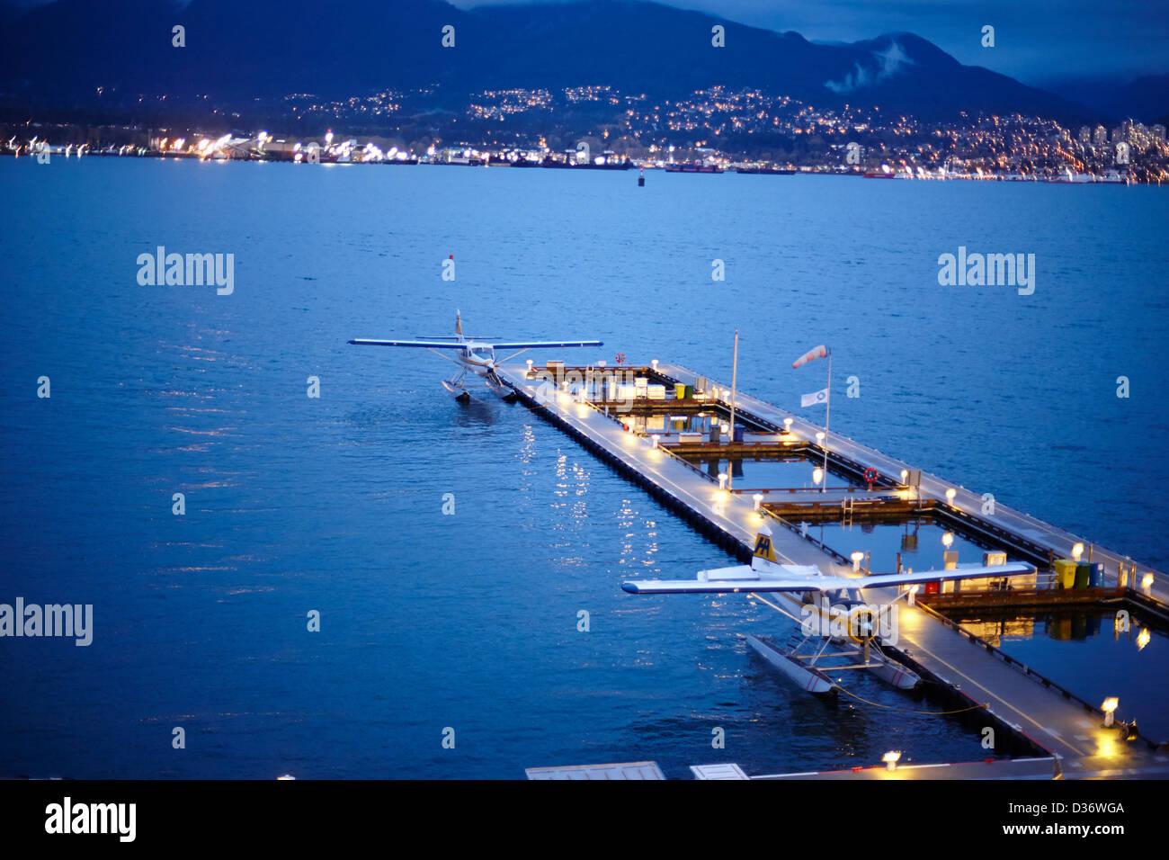 Vancouver harbour water aerodrome floatplane terminal BC Canada - Stock Image