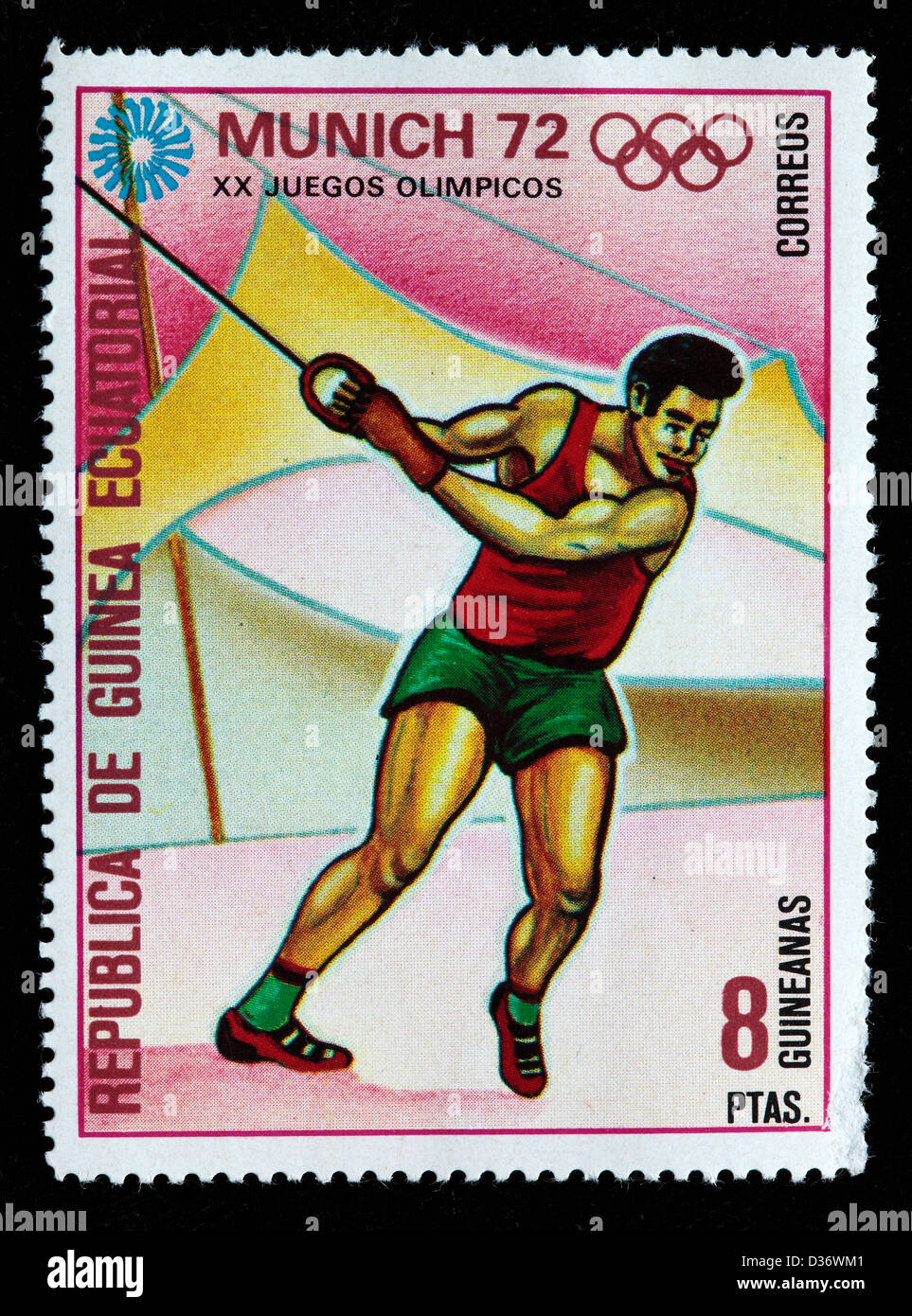 Olympic games in Munich, postage stamp, Equatorial Guinea, 1972 - Stock Image