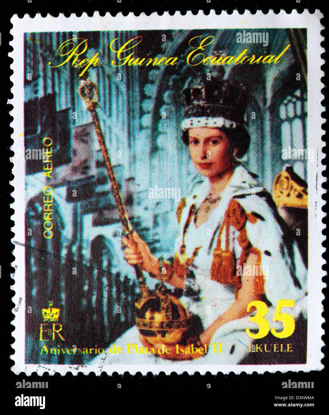 Queen Elizabeth II, postage stamp, Equatorial Guinea, 1978 - Stock Image