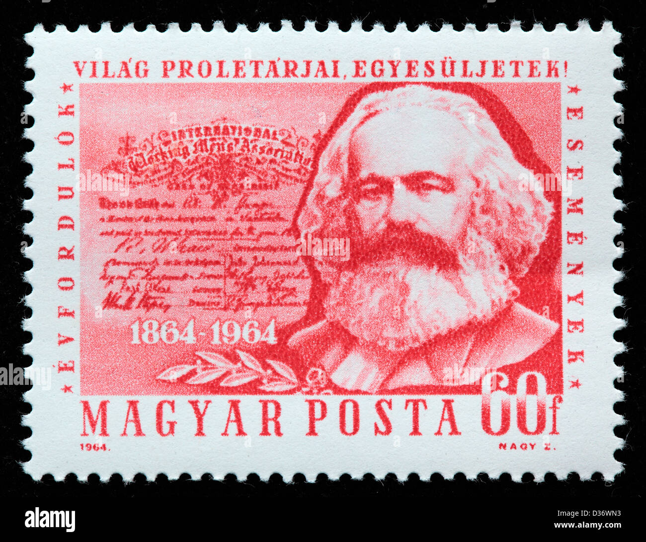 Karl Marx, postage stamp, Hungary, 1964 - Stock Image