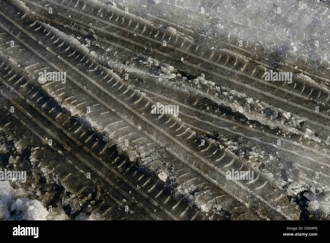 Car tyre tracks in snow - Stock Image