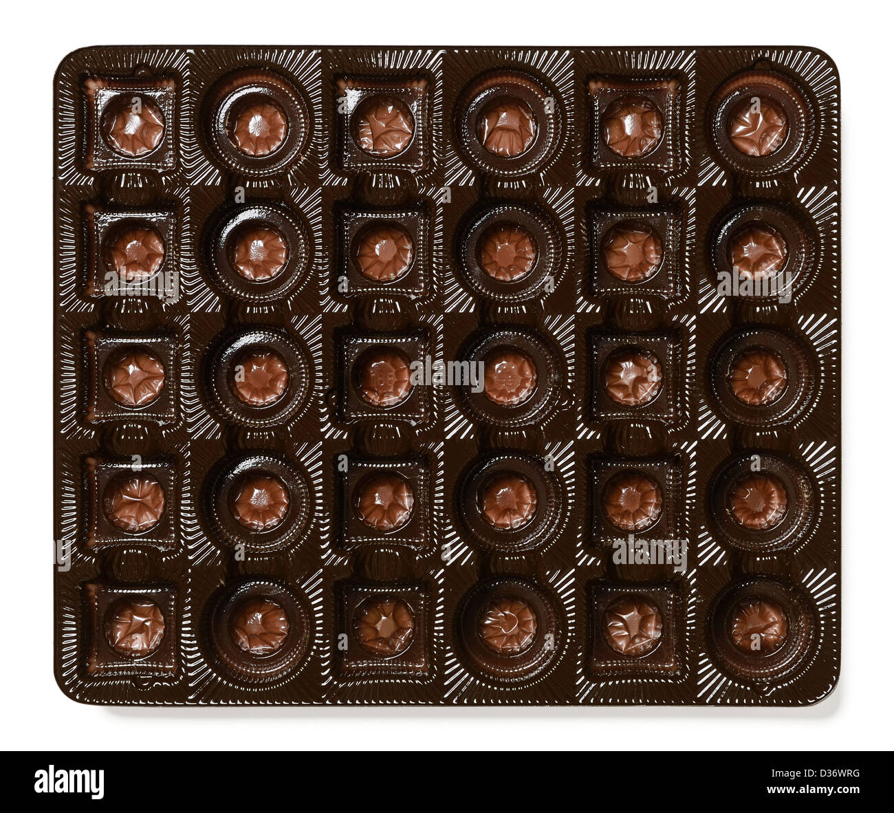 Plastic tray from a box of chocolates - Stock Image