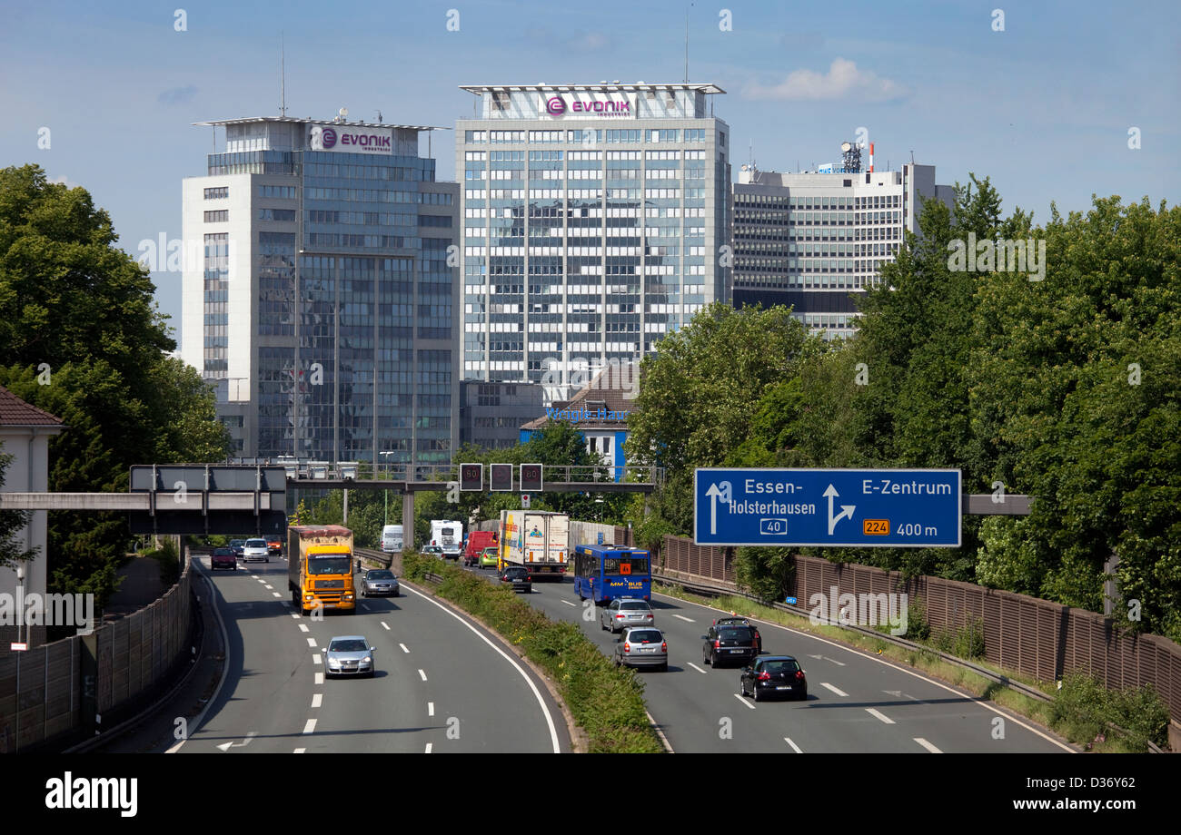 Essen, Germany, A40 and buildings of Evonik AG - Stock Image