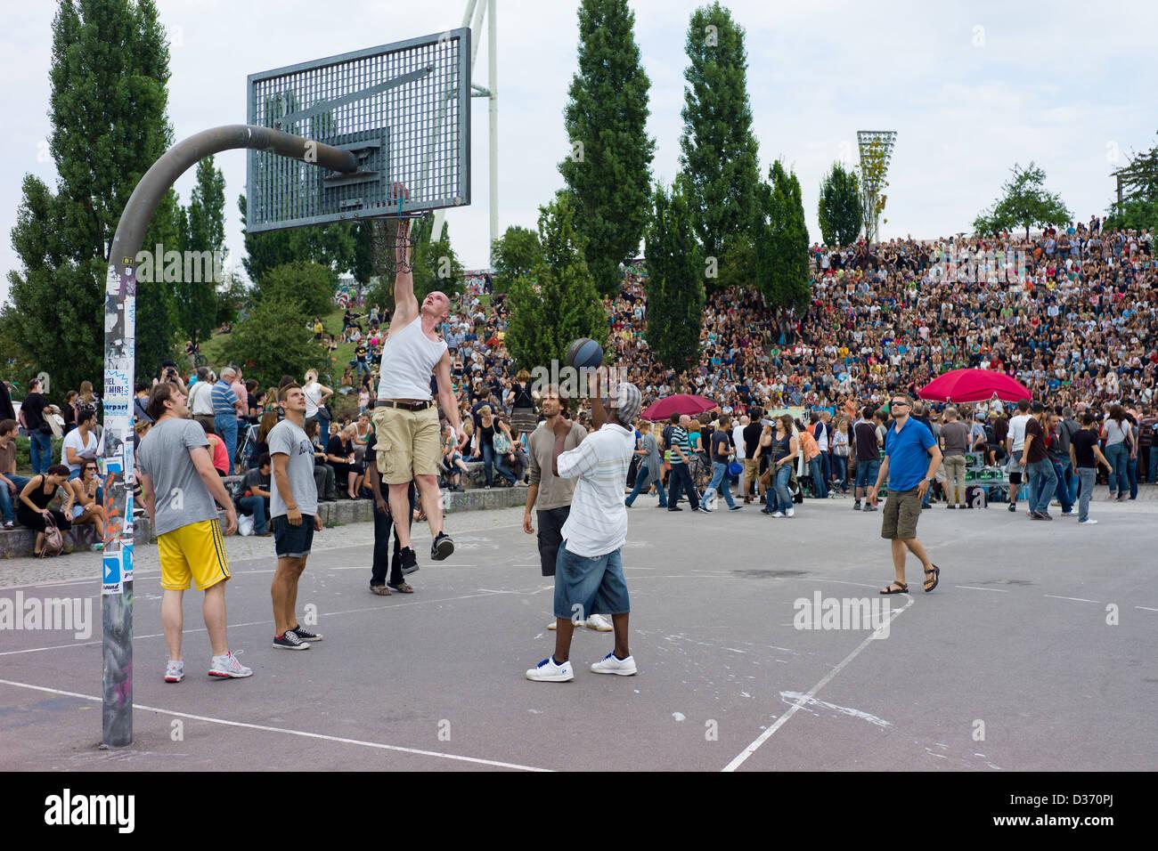 Berlin, Germany, basketball and karaoke on Sundays at Mauerpark - Stock Image