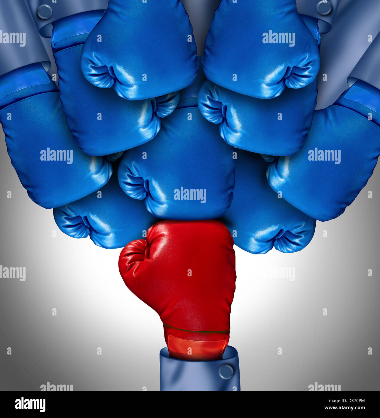 Overcoming adversity and conquering challenges as a group of blue boxing gloves ganging up on a single red glove Stock Photo