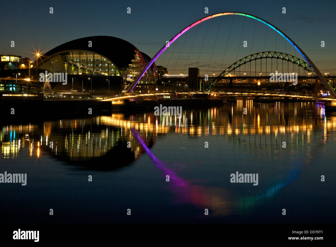 Gateshead Quays with Sage Gateshead and Millennium Bridge at night, Tyne and Wear, North East England, UK, GB, - Stock Image