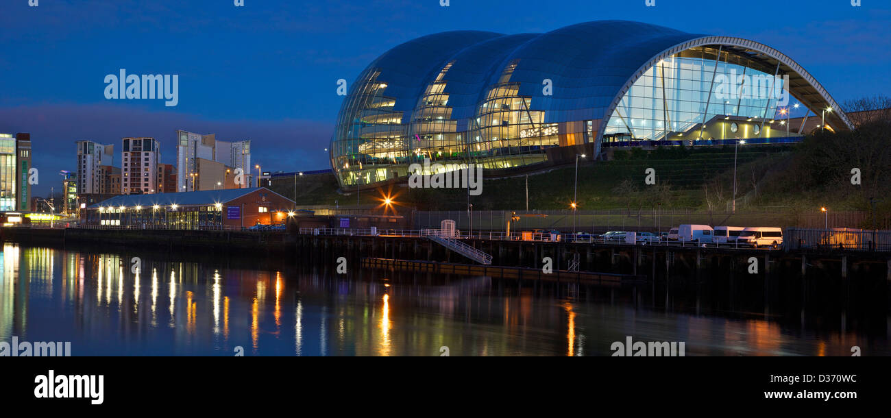 Panoramic photo of Gateshead Quays with Sage Gateshead at night, Tyne and Wear, North East England, UK, GB, - Stock Image