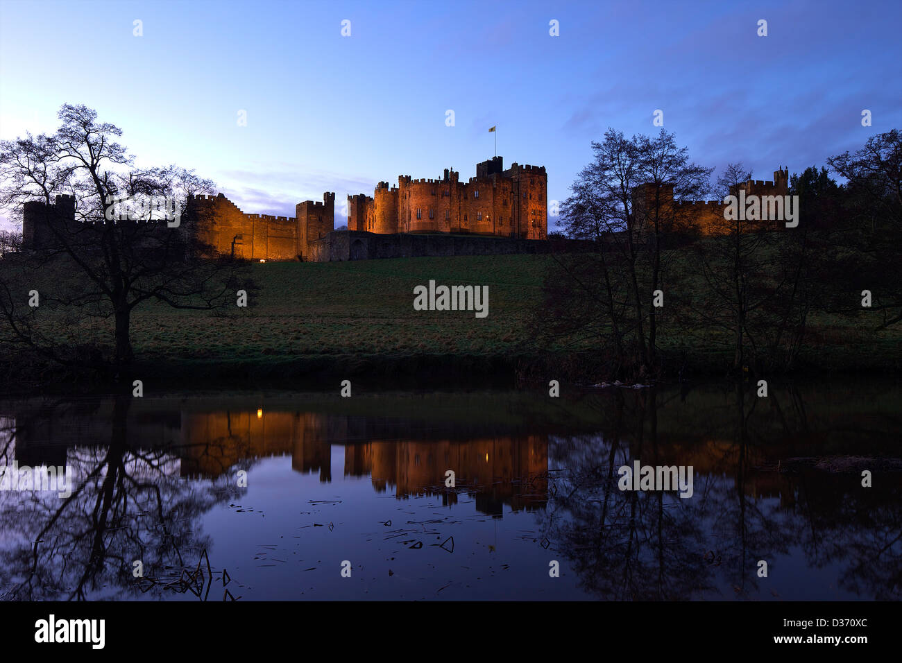 Alnwick Castle and River Aln, Northumberland, North Eastern England, UK, GB - Stock Image