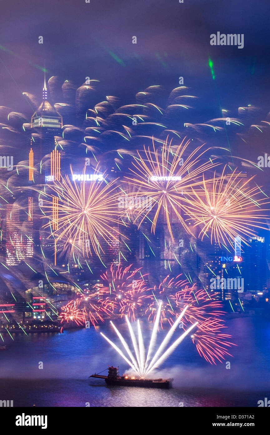 HONG KONG - SAR of CHINA: General view of Hong Kong skyline from Kowloon side during celebration of the Chinese - Stock Image