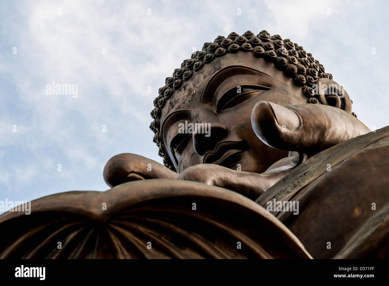 LANTAU - HONG KONG, SAR of CHINA: Big Buddha Statue in the island of Lantau in Hong Kong - Stock Image