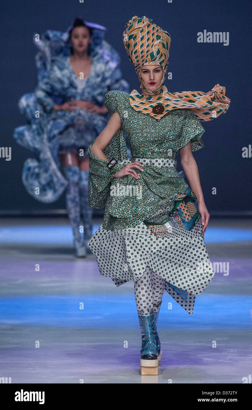 A model showcases designs on the runway by Lin Po Chun's Time Capsule show during the Hong Kong Fashion Designers Stock Photo