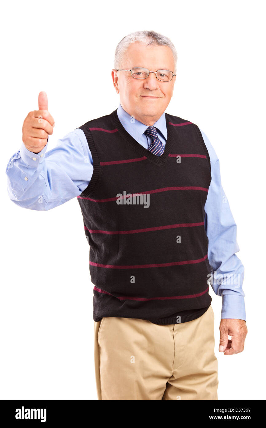 a mature gentleman giving thumbs up isolated on white background