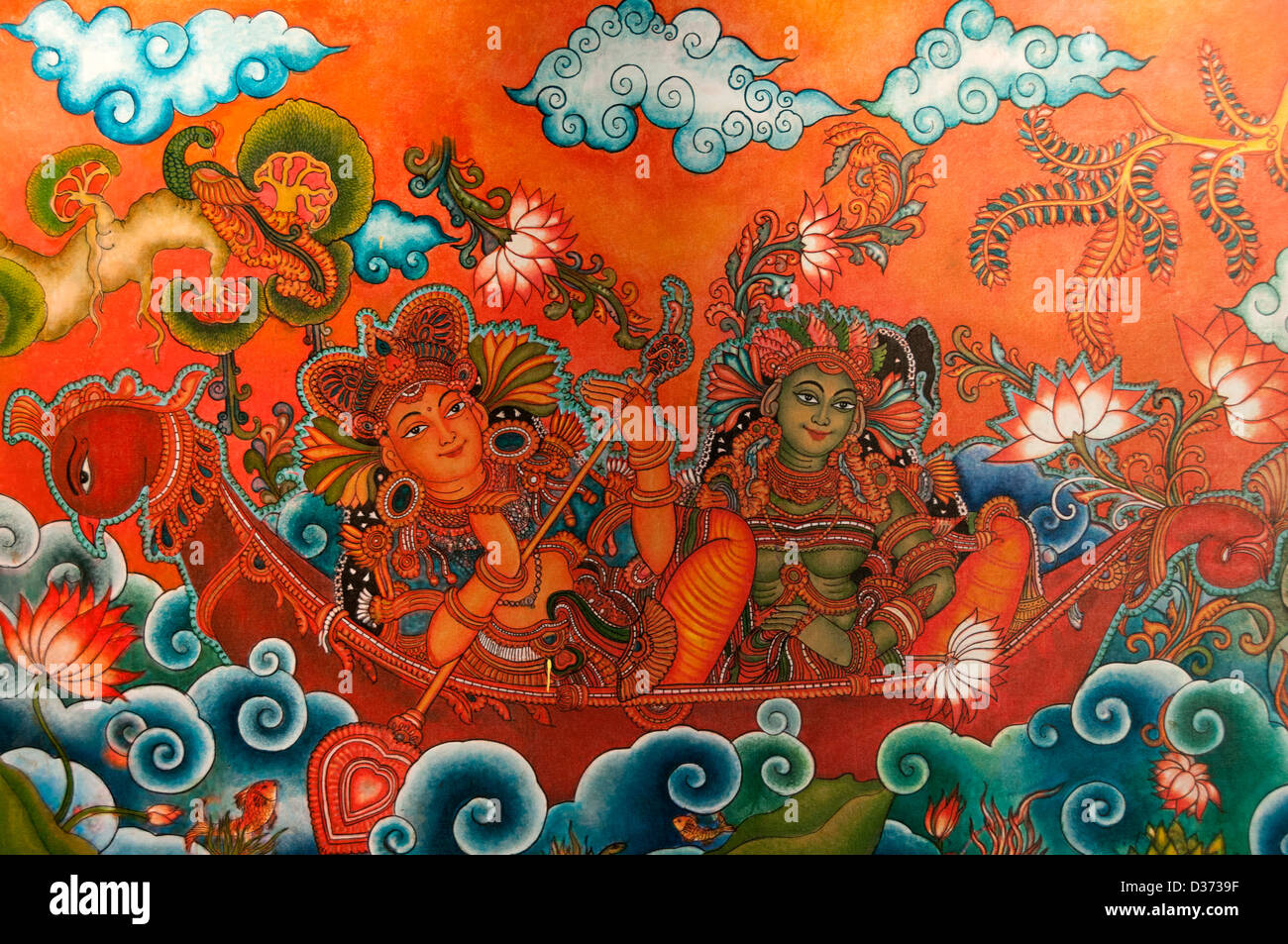 Mural Painting depicting Indian Gods - Stock Image