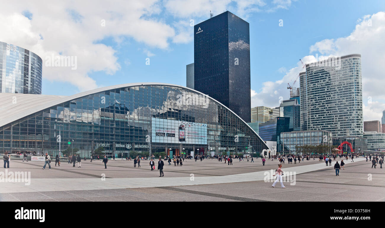 Editorial photo of workers in and visitors to La Defense, the business area in west-central Paris. Stock Photo