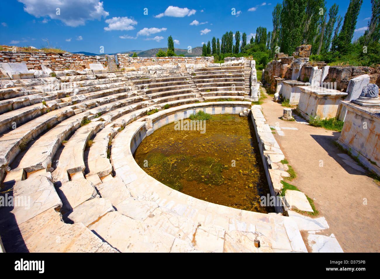 Roman Odeon Theatre of Aphrodisias Archaeological site, Turkey - Stock Image