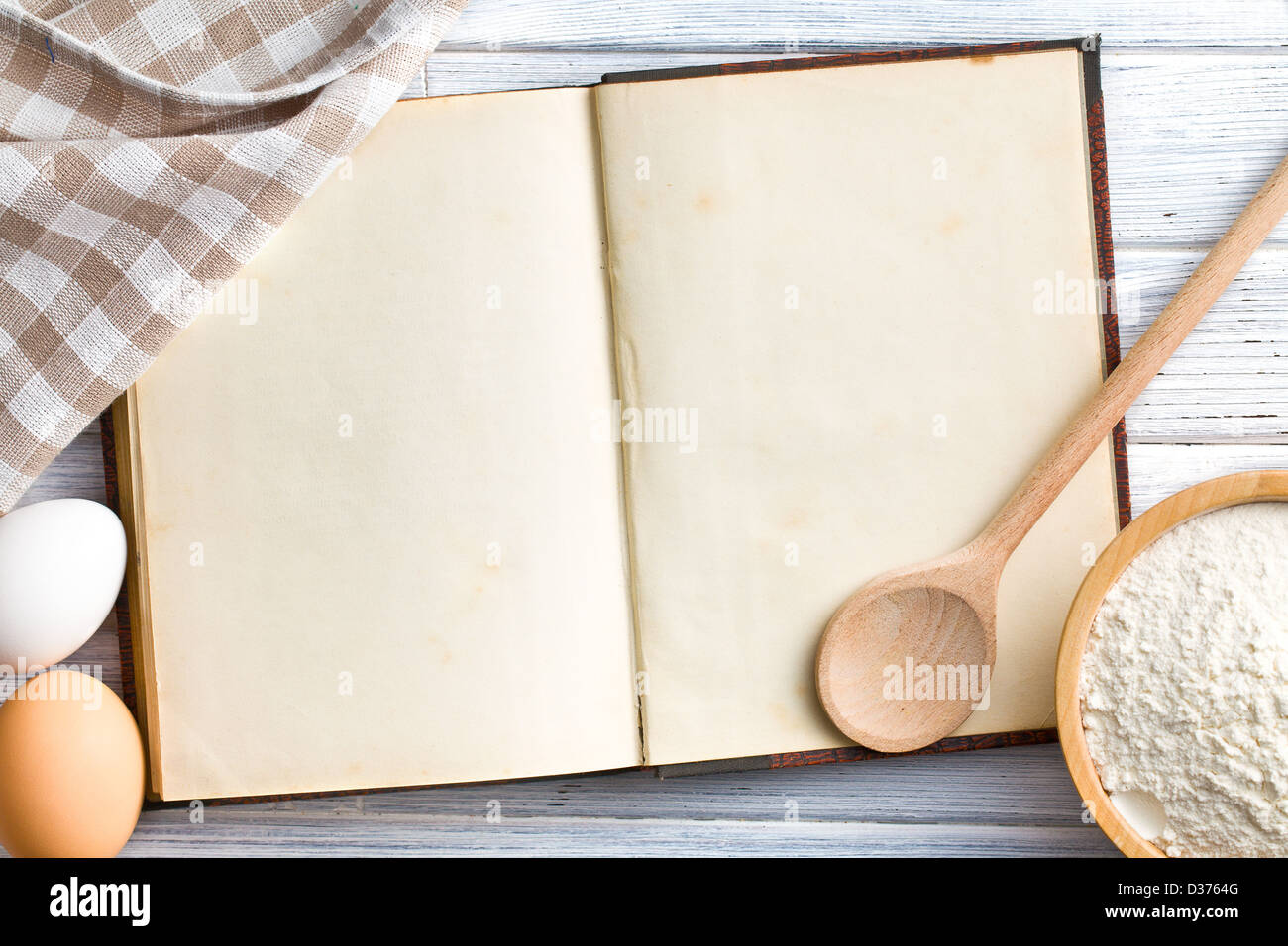 the old blank recipe book - Stock Image