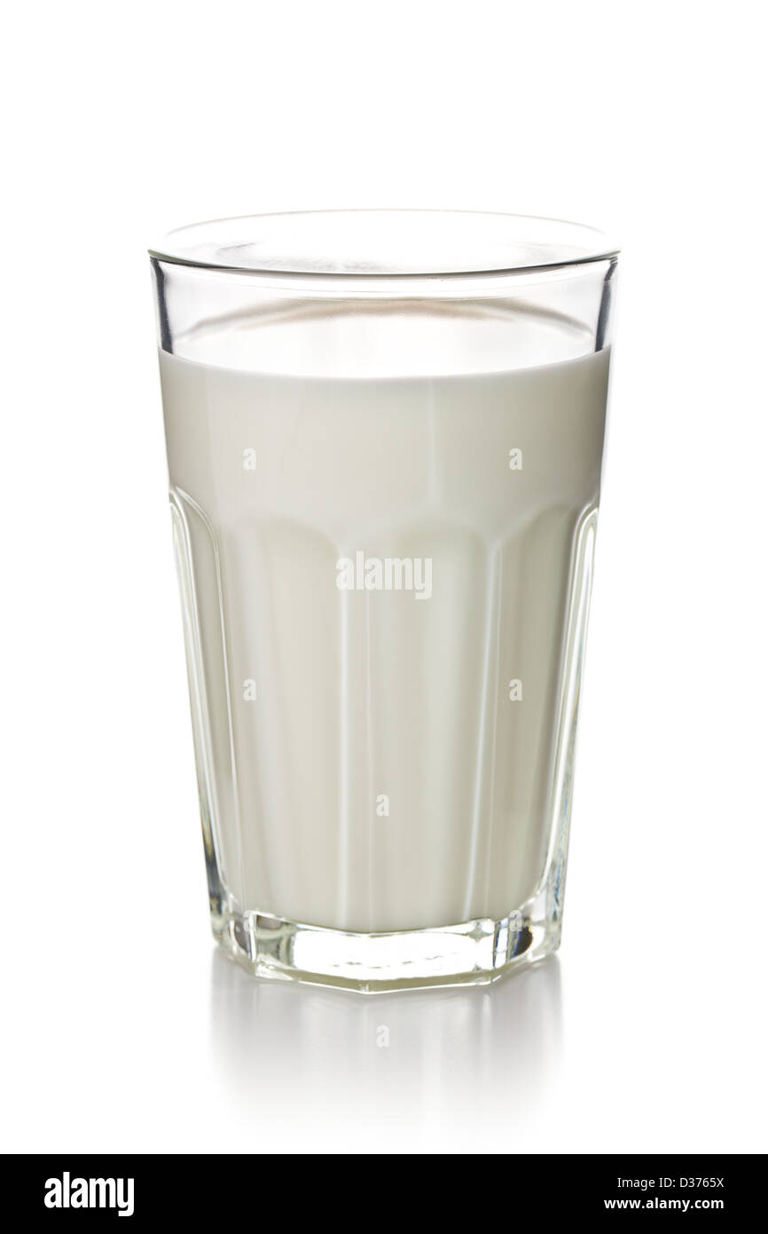 glass of milk on white background - Stock Image